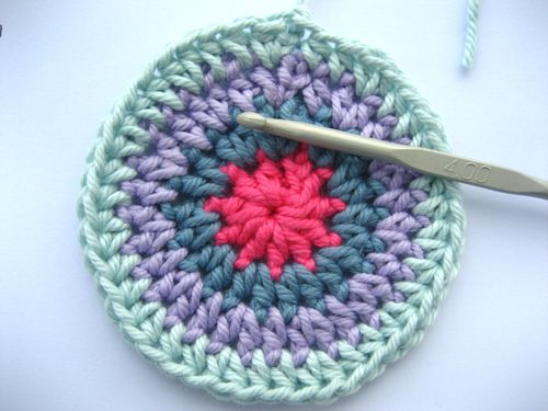 Crochet In A Circle : Again, make sure you end the round with your 2 single htrs.