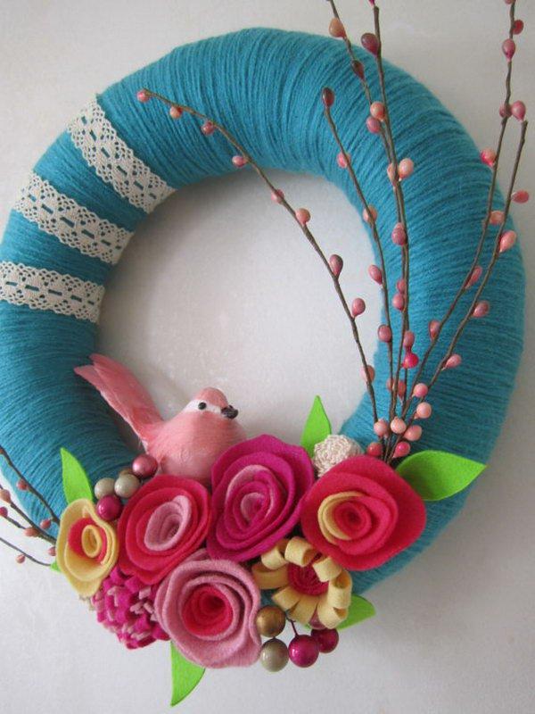 needle felted wreath felted gray wreath Spring wreath
